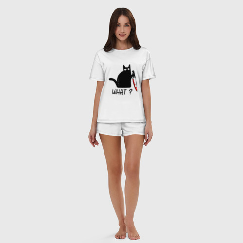 Женская пижама с шортиками хлопок What cat Фото 01