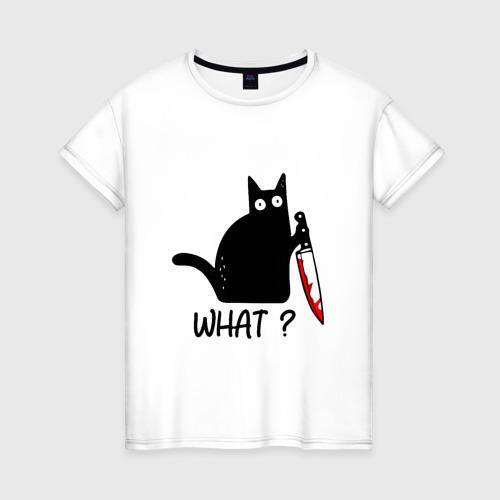 Женская футболка хлопок What cat Фото 01