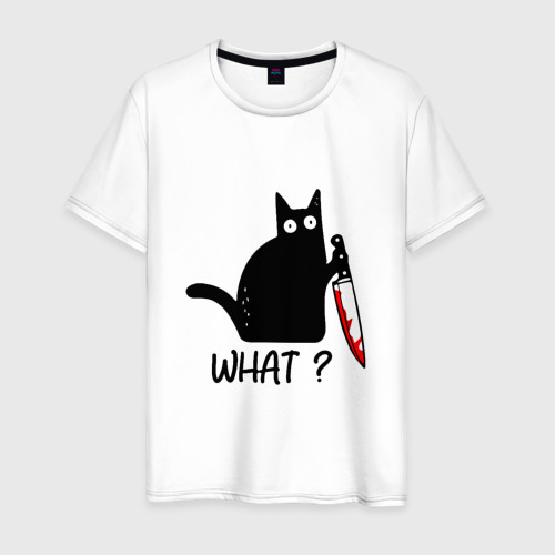 Мужская футболка хлопок What cat Фото 01