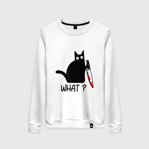 Женский свитшот хлопок What cat Фото 01