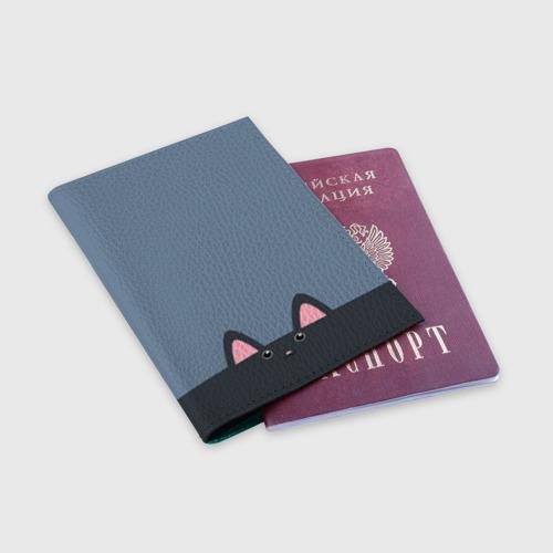Обложка для паспорта матовая кожа Милашка котик Фото 01