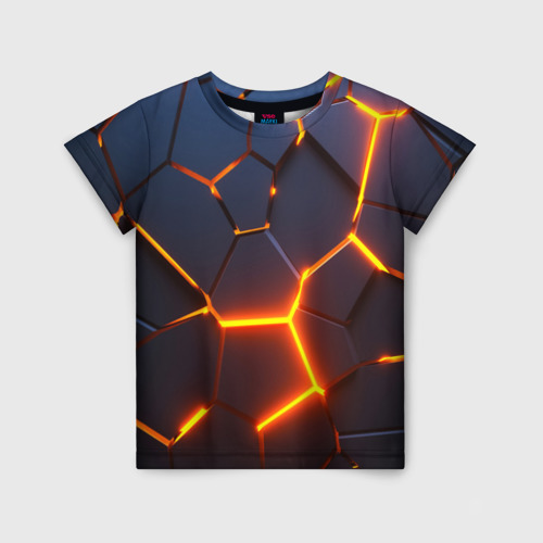 Детская футболка 3D 3D ПЛИТЫ | NEON STEEL | НЕОНОВЫЕ ПЛИТЫ | РАЗЛОМ Фото 01