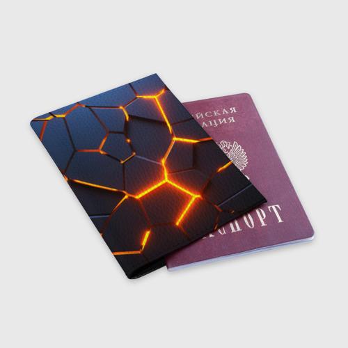 Обложка для паспорта матовая кожа 3D ПЛИТЫ | NEON STEEL | НЕОНОВЫЕ ПЛИТЫ | РАЗЛОМ Фото 01