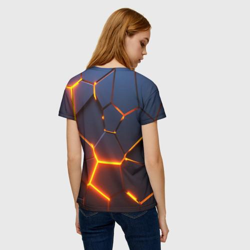 Женская футболка 3D 3D ПЛИТЫ | NEON STEEL | НЕОНОВЫЕ ПЛИТЫ | РАЗЛОМ Фото 01