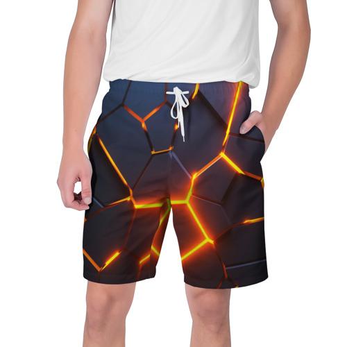 Мужские шорты 3D 3D ПЛИТЫ | NEON STEEL | НЕОНОВЫЕ ПЛИТЫ | РАЗЛОМ Фото 01