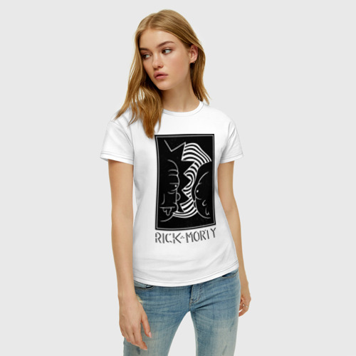 Женская футболка хлопок Rick and Morty black and white Фото 01