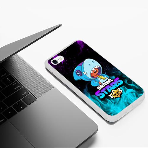 Чехол для iPhone 6Plus/6S Plus матовый BRAWL STARS LEON SHARK Фото 01