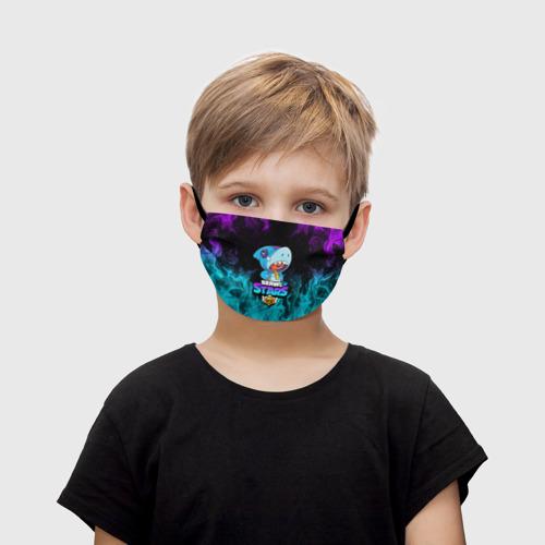 Детская маска (+5 фильтров) BRAWL STARS LEON SHARK Фото 01
