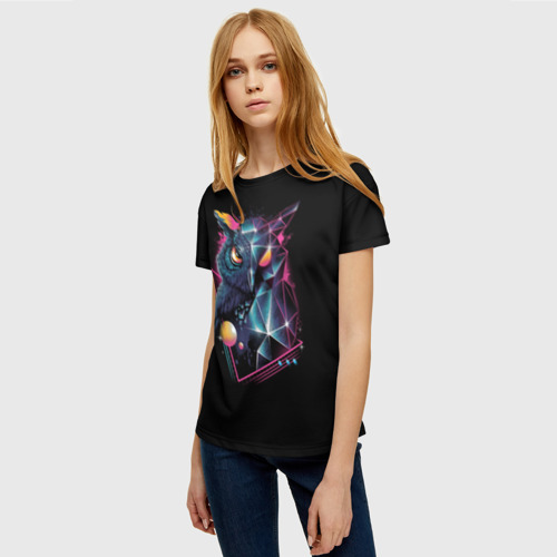 Женская футболка 3D Neon net-owl Фото 01