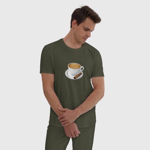 Мужская пижама хлопок Кофе Фото 01