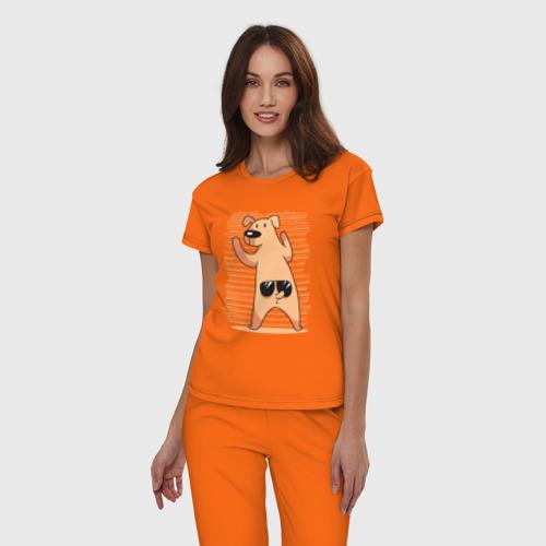 Женская пижама хлопок Собака с Очками Фото 01