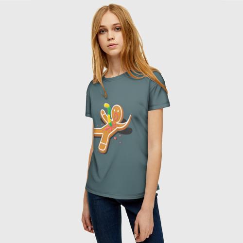 Женская футболка 3D Пряничный человечек за  1025 рублей в интернет магазине Принт виды с разных сторон
