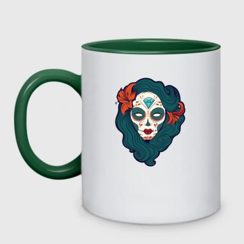 Кружка двухцветная Мексиканский сахарный череп Фото 01