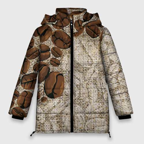 Женская зимняя куртка Oversize Кофейные зёрна (вышивка) Фото 01