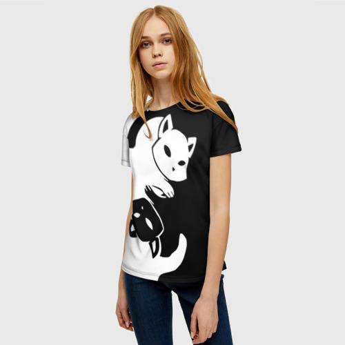 Женская футболка 3D ДВА КОТА КУВЫРКАЮТСЯ. Фото 01