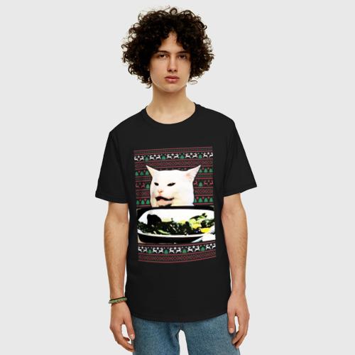 Мужская футболка хлопок Oversize Woman yelling at Cat meme Фото 01
