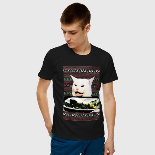 Мужская футболка хлопок Woman yelling at Cat meme Фото 01