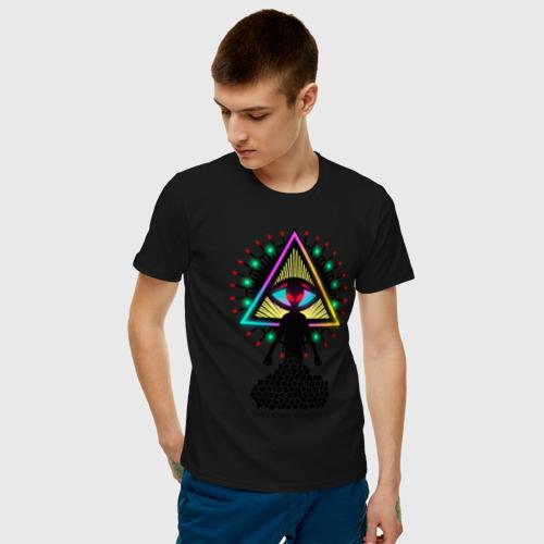 Мужская футболка хлопок Neon alien.The all-seeing eye Фото 01