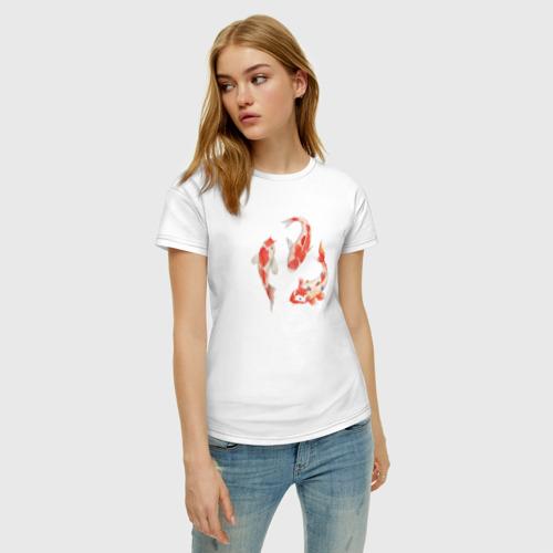 Женская футболка хлопок Карп Кои Фото 01