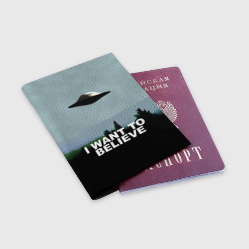 Обложка для паспорта матовая кожа I WANT TO BELIEVE. Фото 01