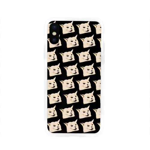 Чехол для Apple iPhone X силиконовый глянцевый woman yelling at cat Фото 01