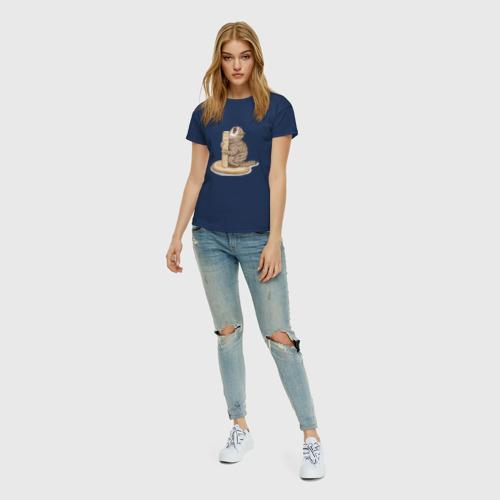 Женская футболка хлопок Орущий Кот Фото 01