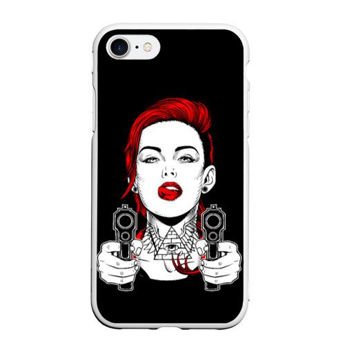 Чехол для iPhone 7/8 матовый Woman is holding a gun Фото 01