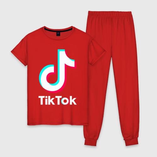 Женская пижама хлопок TIK TOK + (НА СПИНЕ) Фото 01
