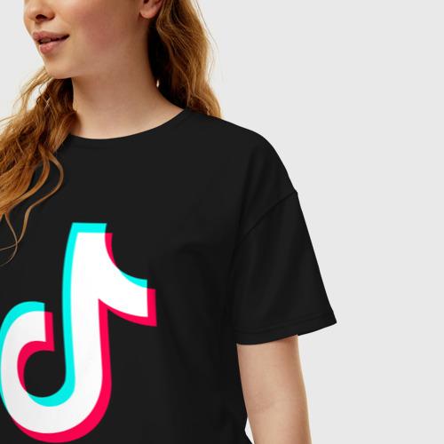 Женская футболка хлопок Oversize TIK TOK + (НА СПИНЕ) Фото 01