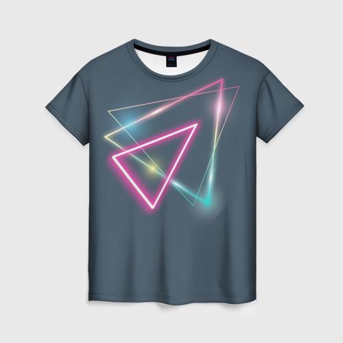 Женская футболка 3D Неоновый треугольник Фото 01