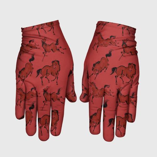 Перчатки 3D красные кони Фото 01