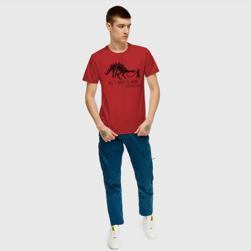 Мужская футболка хлопок All a need is dinosaur Фото 01