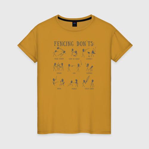Женская футболка хлопок Fencing don`ts XS футболка меч s19 w ts moscow женская черный xs