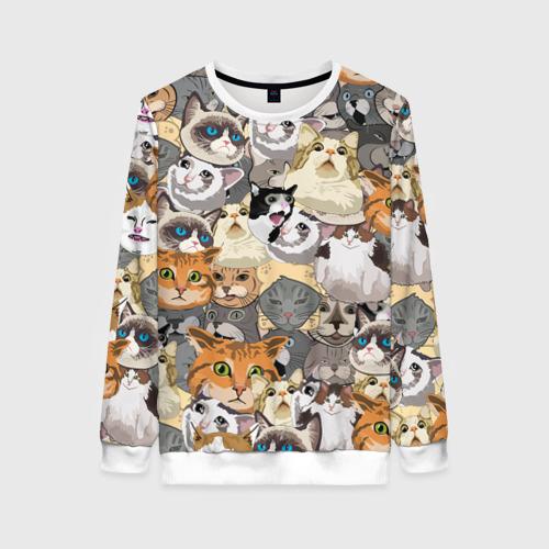 Женский свитшот 3D ALL CATS MEMES Фото 01
