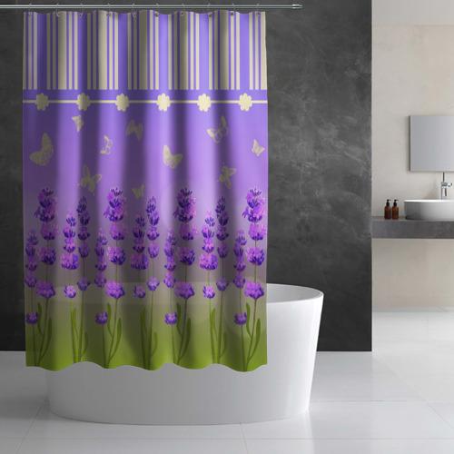 Штора 3D для ванной Лаванда прованса Фото 01