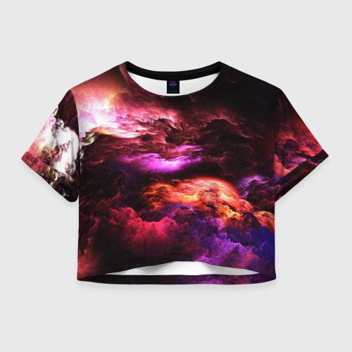Женская футболка Crop-top 3D закат абстракция Фото 01
