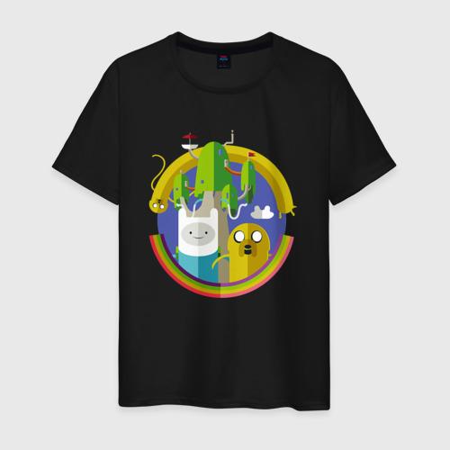 Мужская футболка хлопок Финн и Джейк Фото 01