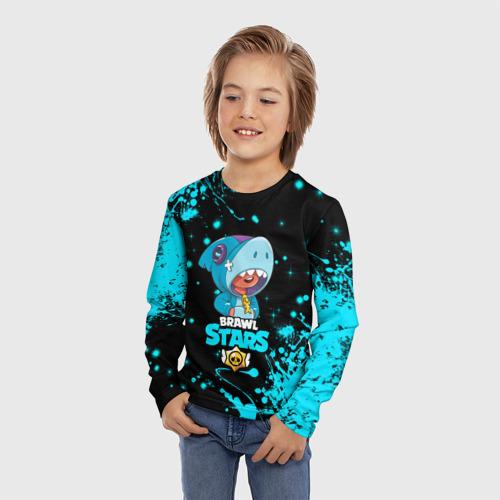 Детский лонгслив 3D BRAWL STARS LEON SHARK. Фото 01