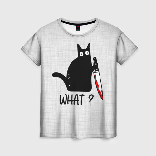 Женская футболка 3D What cat Фото 01