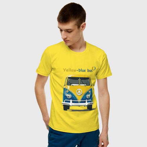Мужская футболка хлопок Я люблю вас (Yellow-blue bus) Фото 01