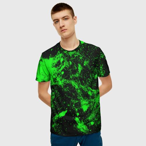 Мужская футболка 3D Зелёная краска Фото 01