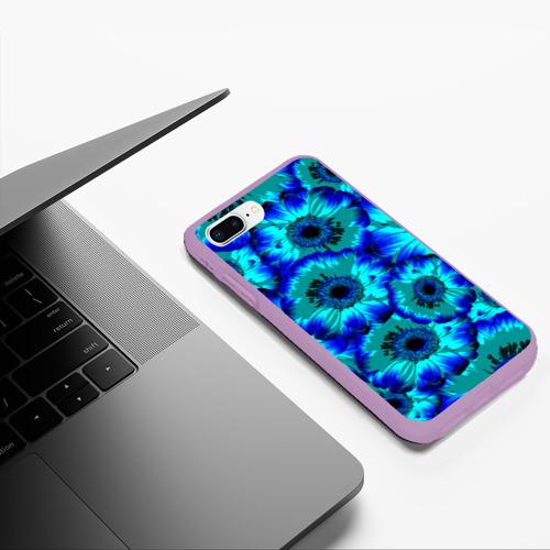 Чехол для iPhone 7Plus/8 Plus матовый Голубые хризантемы Фото 01