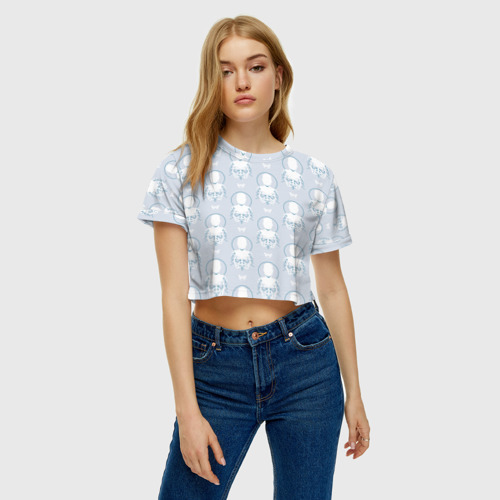 Женская футболка Crop-top 3D Android Pattern Фото 01