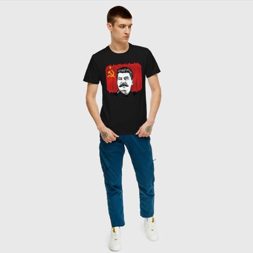 Мужская футболка хлопок Сталин и флаг СССР Фото 01