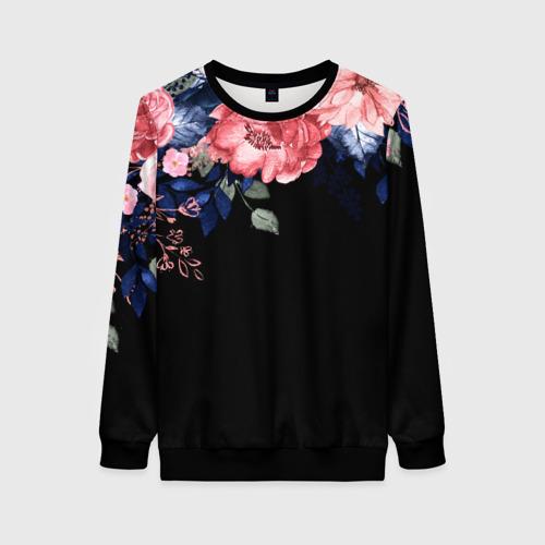 Женский свитшот 3D цветы на черном Фото 01