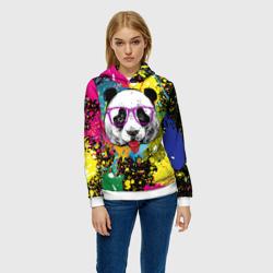 Панда хипстер в брызгах краски