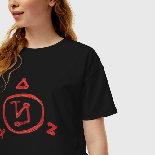 Женская футболка хлопок Oversize Angel Banishing Sigil Фото 01