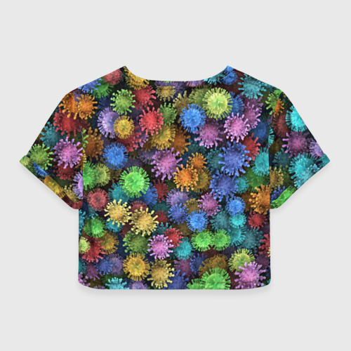 Женская футболка Crop-top 3D Разноцветные вирусы Фото 01