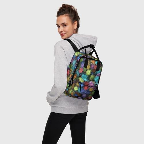 Женский рюкзак 3D Разноцветные вирусы Фото 01