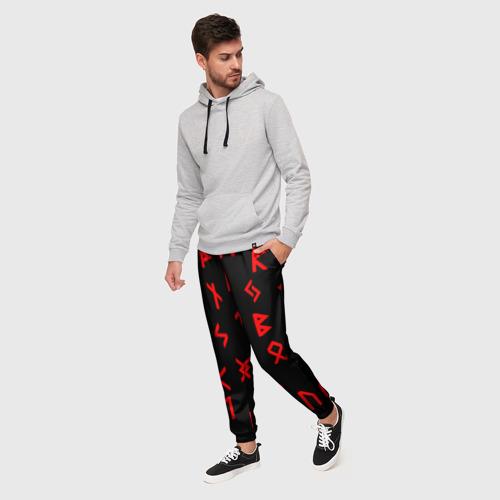 Мужские брюки 3D КРАСНЫЕ РУНЫ Фото 01